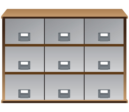 Drawer organizer with drawers and labels on the handles