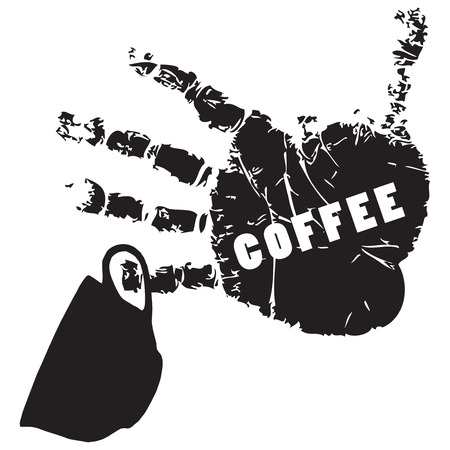 Coffee symbol on the print of a human hand. Vector illustration.