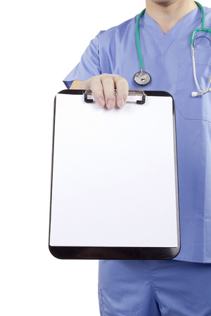 A doctor in blue uniform holding a clipboard. Stock Photo - 27771401