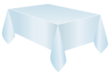 Blue tablecloth on a rectangular table. Vector illustration without trace. 向量圖像