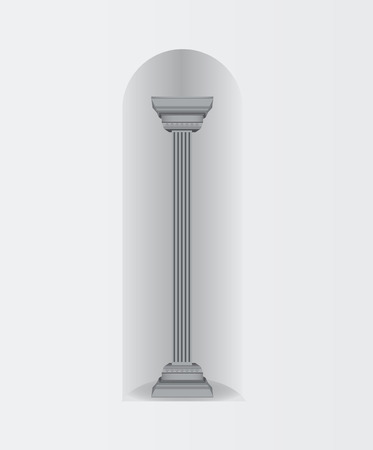 doric: Antique column in the wall oval arch. Vektornayaillyustratsiya. Illustration