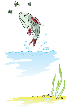 Fish eats insects jumping out of the water. Vector illustration.