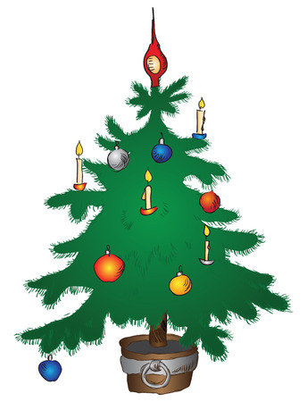 New Year tree in a wooden pot with toys. Vector without trace delineation.