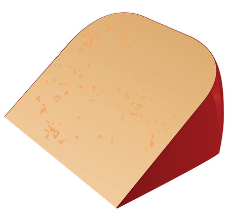 Piece of cheese in red tape.