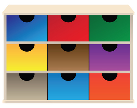 Box organizer for small parts with colored drawers.  Vector