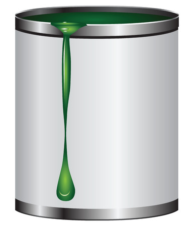 paint can: Dripping on the bank with green paint.