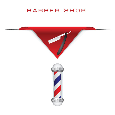 straight razor: Symbols hairdresser old style razor and Barber shop pole.  Illustration