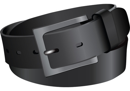 leather belt: Black leather belt. Vector illustration without trace.