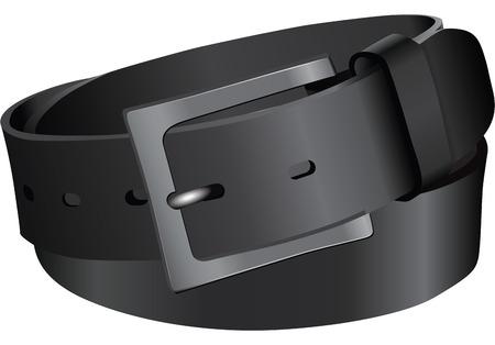 cintur�n de cuero: Cintur�n de cuero negro. Ilustraci�n vectorial sin dejar rastro. Vectores