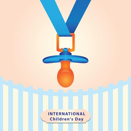 childrens day: Baby dummy for International Childrens Day. Vector illustration.