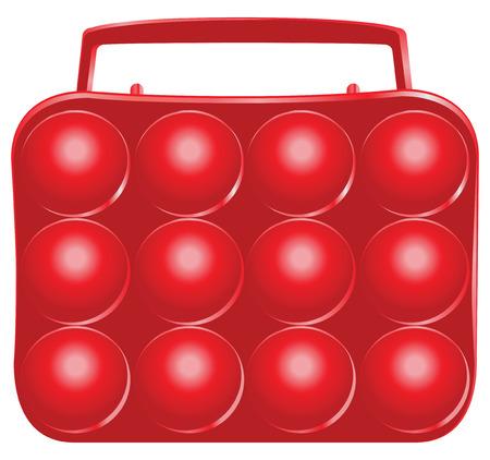 Plastic tray for a dozen eggs. Vector illustration. Vector