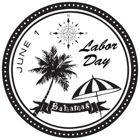 holiday symbol: Labor Day Bahamas prima del giugno simbolo di vacanza. Vettoriali