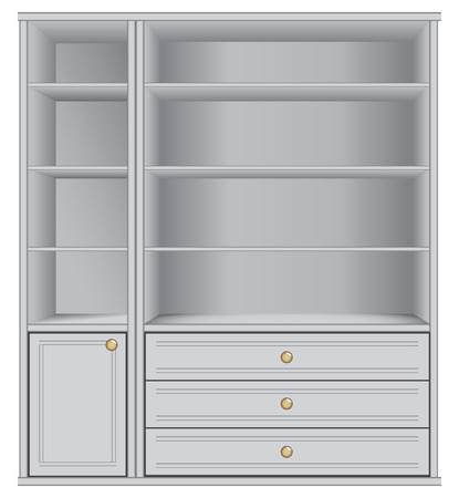 Office display storage with shelves and drawers illustration. Vector