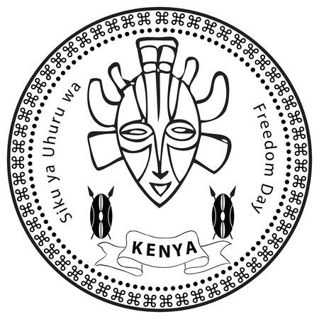 kenya: Stamp Day of Freedom in Kenya illustration without trace.