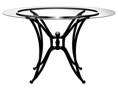 coffee table: Glass round table on steel legs illustration without trace.