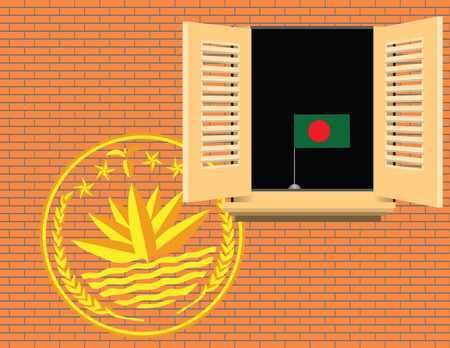 Bangladesh statehood symbols on the wall and in the home illustration without trace.