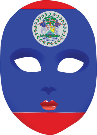 Flag of Belize in the form of an abstract mask. illustration without trace.