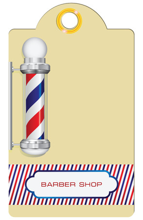 Label with vintage barbershop symbol. Vector illustration. Vector