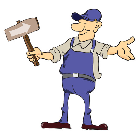 roadworks: Road worker with a pointer. Vector illustration without trace. Illustration