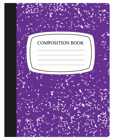 composition: Traditional workbook for study and work in dense cover. Vector illustration.