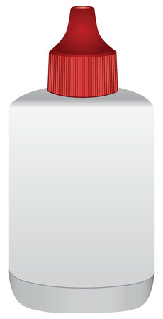 Bottle with spare ink for stamp pad. Vector illustration.
