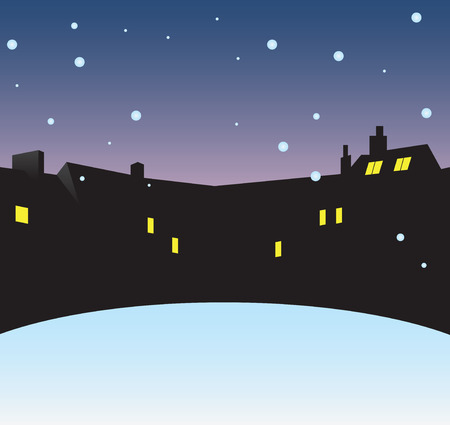 rural scene: Winter night in the city. Vector illustration without trace.