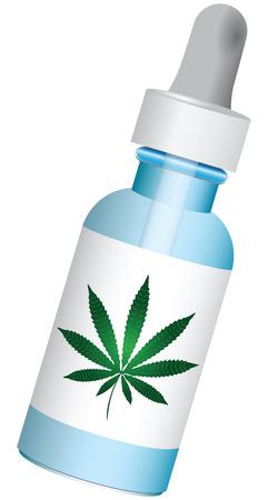 Medicatie met marihuana in een fles met druppelaar. Vector illustratie. Stock Illustratie