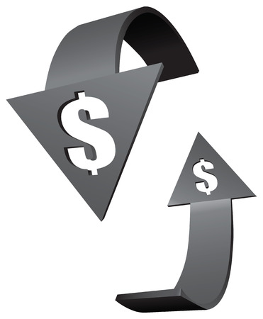 synchronization: Rotating arrows with dollar signs. Vector illustration.