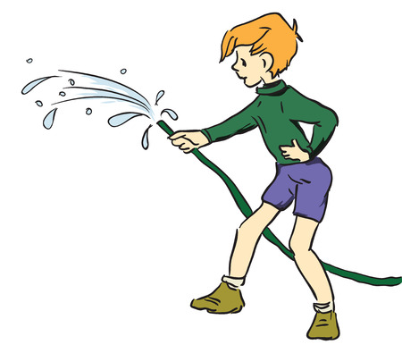 garden hose: Hose for watering in the hands of a boy. Vector illustration.