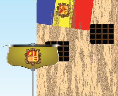 State symbols of Andorra in the urban landscape. Vector illustration. Ilustração