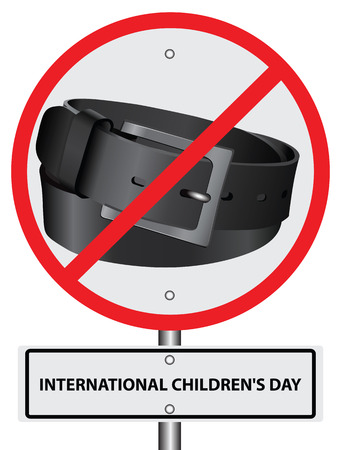 punishment: Symbol ban punishment belt International Childrens Day. Vector illustration without trace.