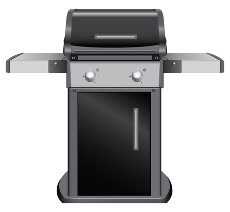 Stationary grill with shelves for inventory. Vector illustration. 일러스트