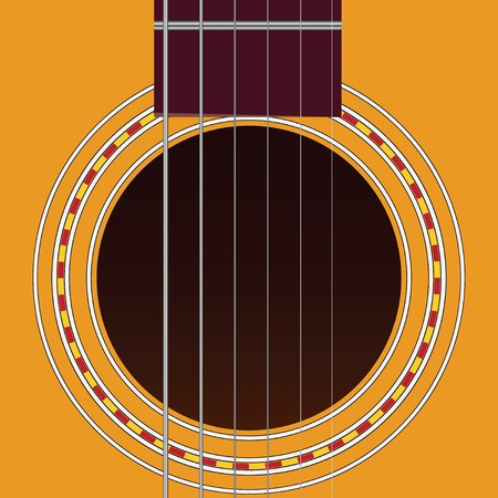 Sound hole of acoustic six-string guitar. Vector illustration. Illustration