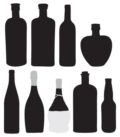 Bottles for bottling of alcoholic beverages. Vector illustration.
