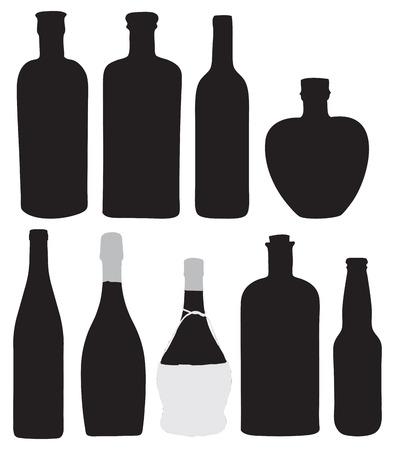 Flessen voor het bottelen van alcoholische dranken. Vector illustratie. Stock Illustratie