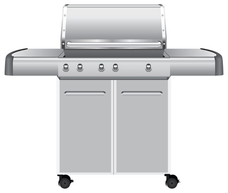 Mobile gas barbecue grill with auxiliary drawers. Vector illustration.