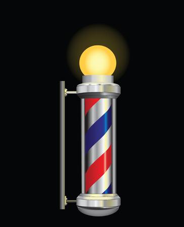 Símbolo de una noche peluquero con lámpara. Ilustración del vector. Vectores