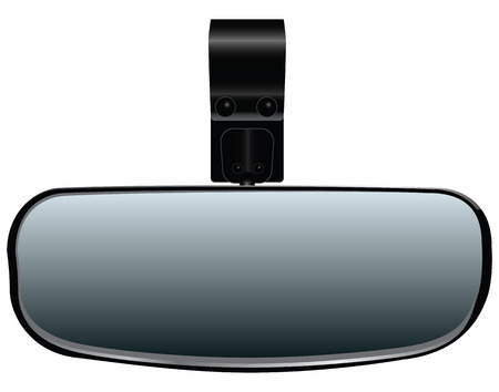 panoramic view: Car Rearview Mirror for additional fastening. Vector illustration.