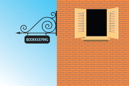 bookkeeping: Sign Bookkeeping Office in the old style. Vector illustration.