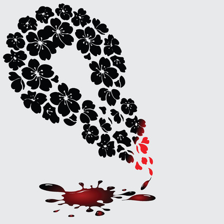 sprinkling: Abstract pen made ​​up of flowers with an ink blot. Vector illustration without trace. Illustration