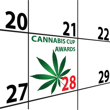 Calendar with the Cannabis Cup Awards marijuana leaf. Vector illustration.