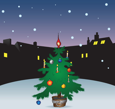 window view: Winter night with a Christmas tree in the city. Vector illustration without trace.