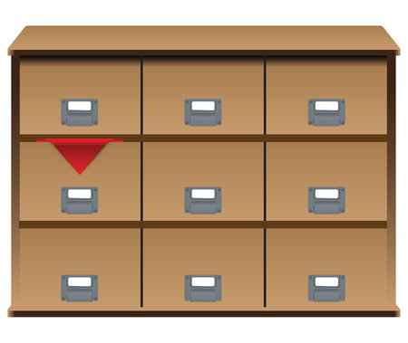 Drawer organizer with drawers and a red cloth in one of the boxes. Vector illustration.