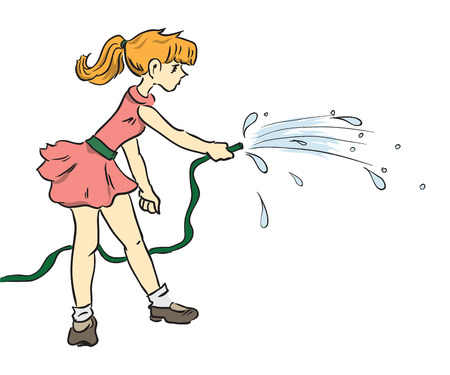 Hose for watering in the hands of girls. 向量圖像