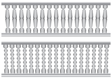 architectural styles: Antique railing as traffic restrictions on the balcony. Vector illustration.