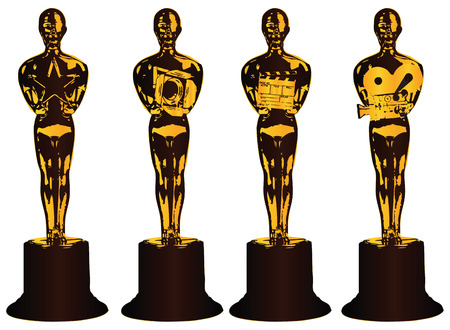 film industry: Abstract shapes Awards stylized profession in the film.  Illustration