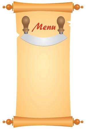 Knife for cutting greens on an old parchment to design a menu.  Ilustração