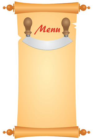 chap: Knife for cutting greens on an old parchment to design a menu.  Illustration