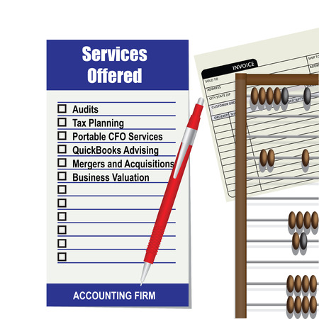 Accounting firm list of services. Vector
