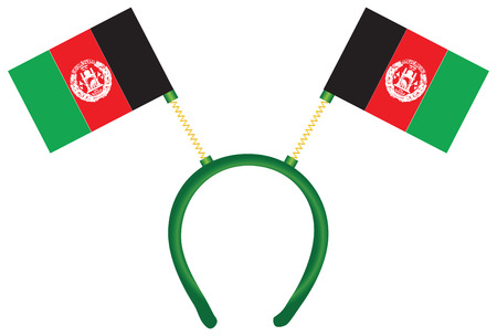 Cheerful headdress for the holiday with a flag of Afghanistan.